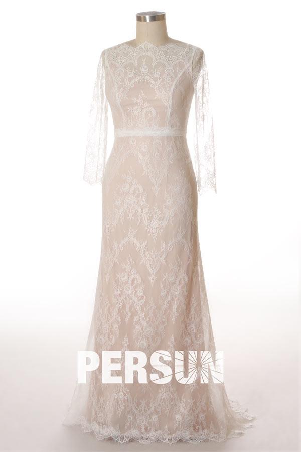 robe de soirée longue élégante en dentelle à manches longue doublure nude