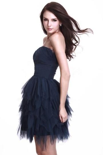 robe de soirée bleu marine tutu bustier droit