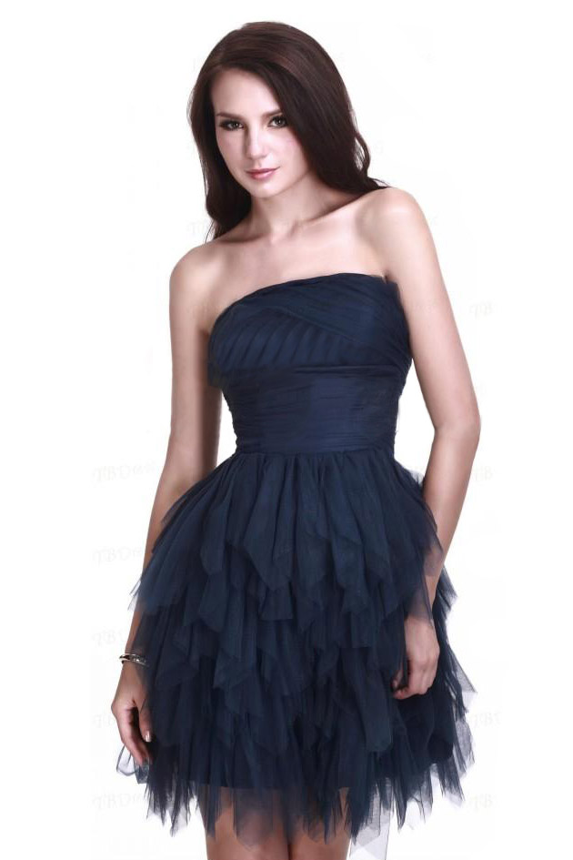 Petite robe cocktail bustier bleu marine volants tulle for Robes de mariage nuits harlem