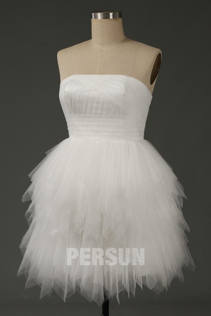 mini robe de mariée bustier droit jupe froufrou