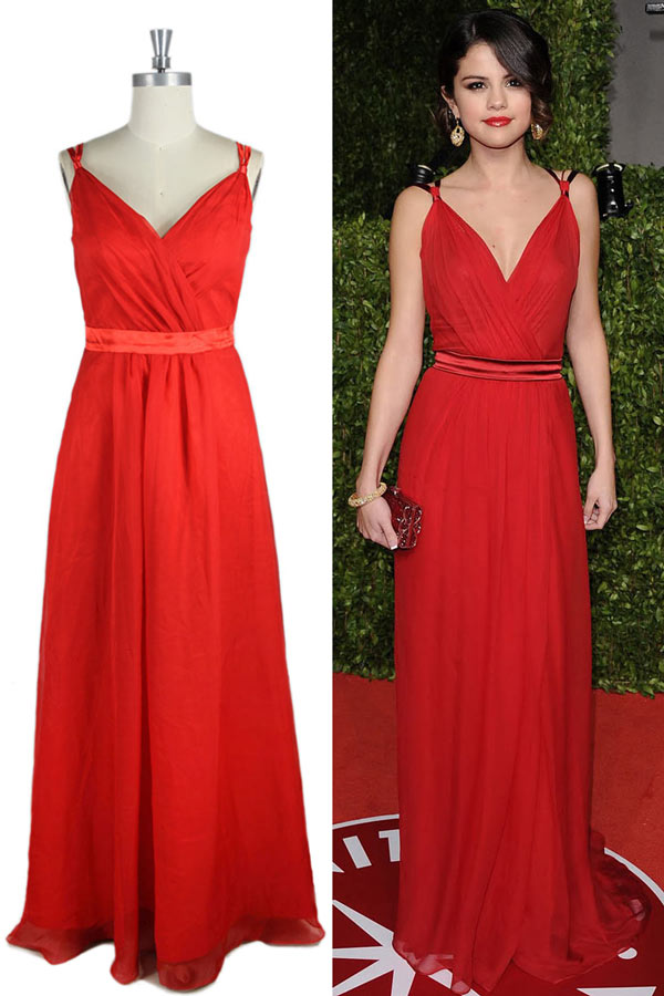 72e52e0a7dc Robe longue rouge Selena Gomez à col V - Persun.fr