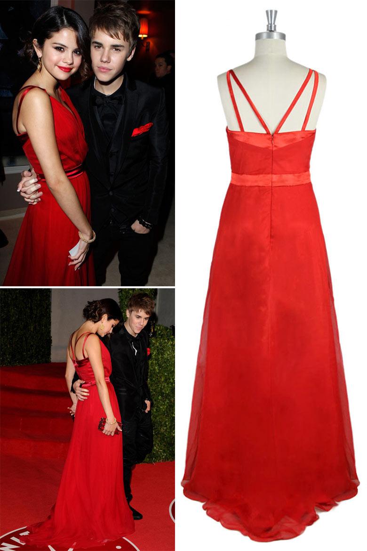 Robe soirée rouge de Selena Gomez longue sol