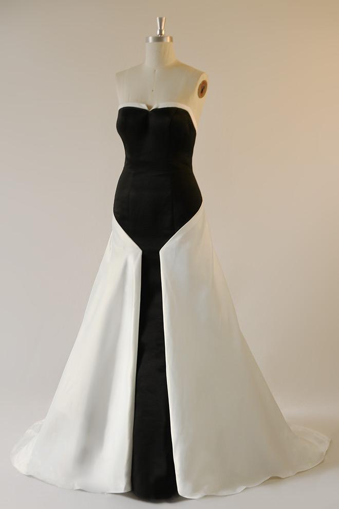 robe de soirée longue noire et blanche bustier