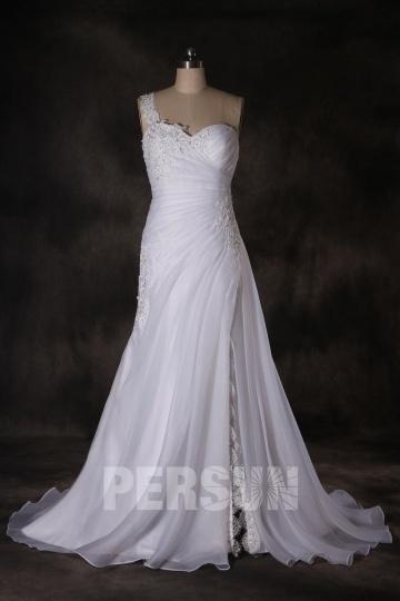 Robe de mariée fendue avec bretelle détachable