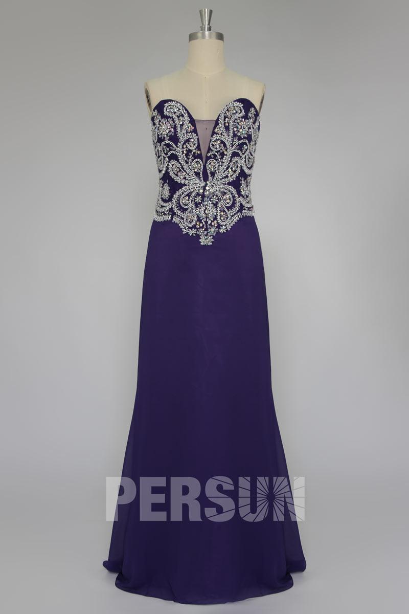 Robe longue violette élégante bustier brodé décolleté en coeur