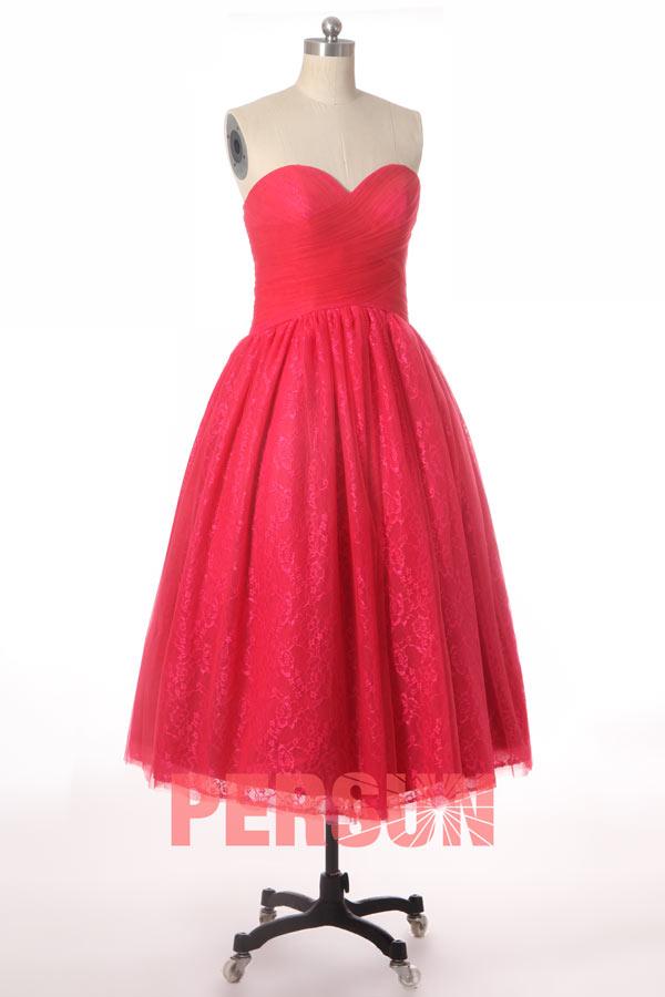 robe de soirée mi-longue bustier coeur plissé en dentelle