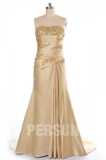 Robe de cérémonie mariage trompette en satin doré