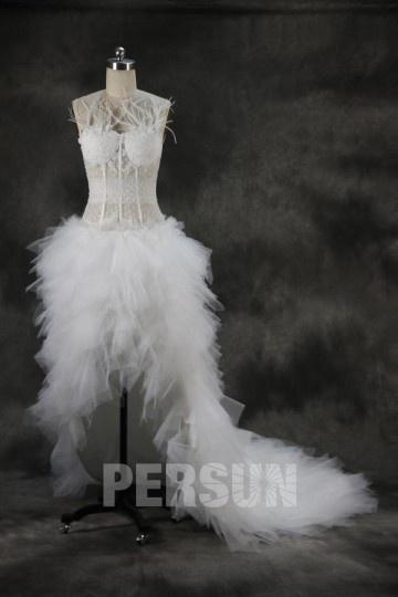 robe de mariée bascule sexy corsage jeu transparent orné de plumes