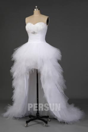 Stéphanie: Robe mariée spectaculaire court devant bustier plume jupe fantaisie