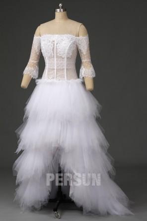Robe de mariée bohème plumetis encolure bardot avec manche trompette