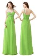 Robe longue vert anis col asymetrique bustier bijouté