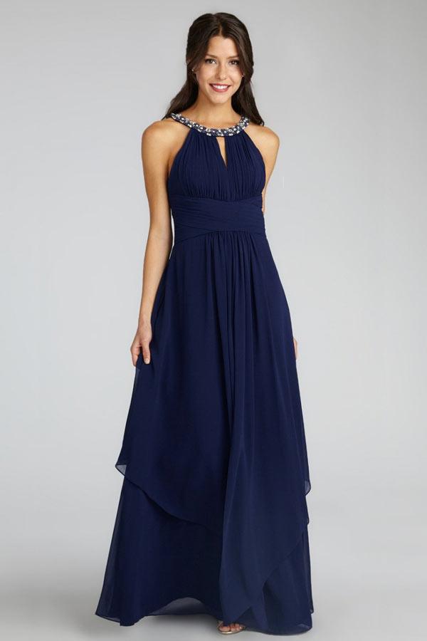 robe de soirée longue bleue marine col halter orné de strass bustier découpe illusion et asymétrique