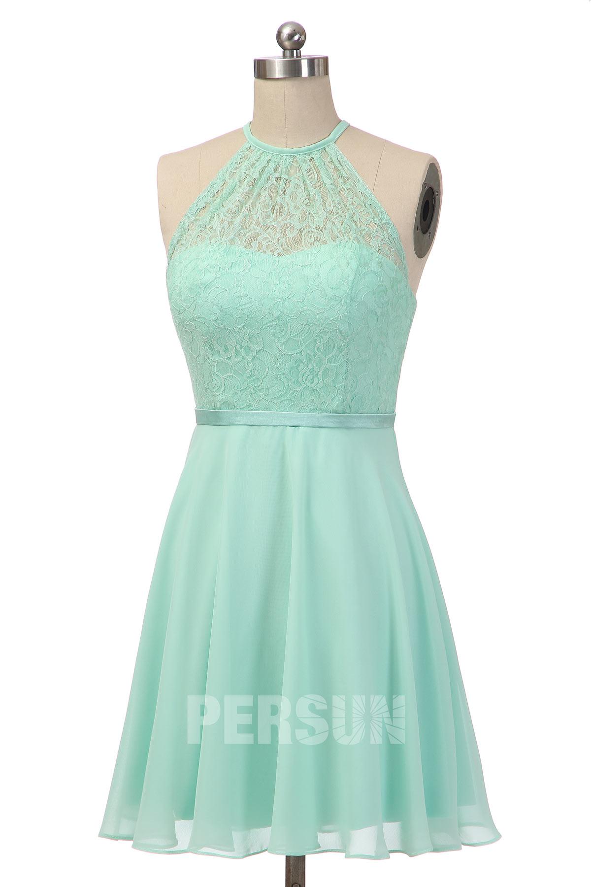 robe de soirée courte pour mariage verte eau à haut dentelle