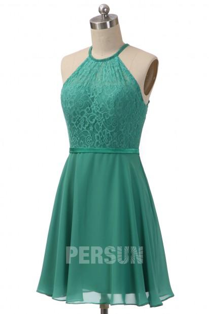 robe de soirée verte émeraude courte haut en dentelle