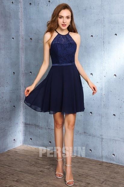 Tendance robe courte bleu nuit chic à col illusion