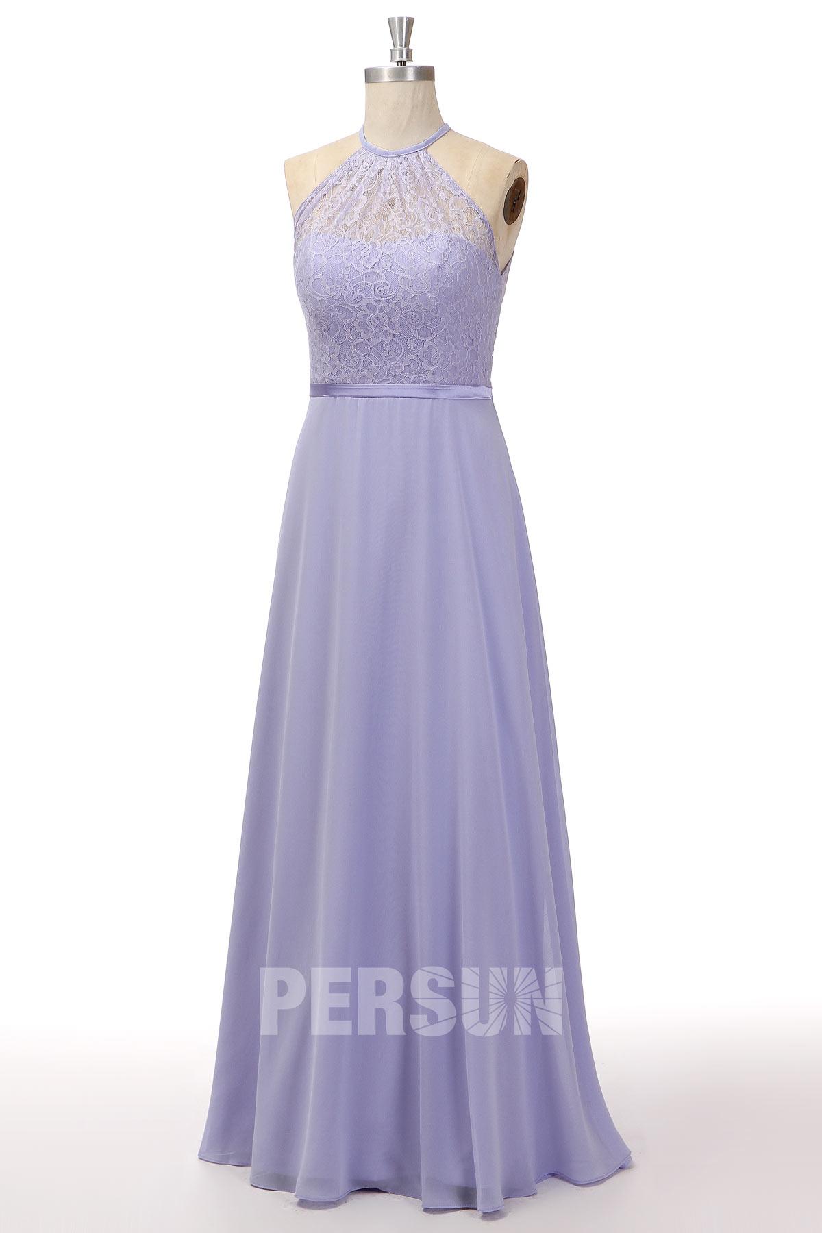 Robe cocktail mariage bleu nuit col illusion en dentelle au genou