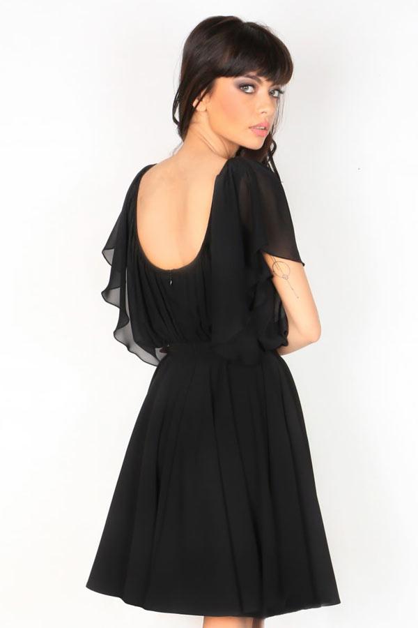Robe noire cocktail de mariage à manche volante dos échancré
