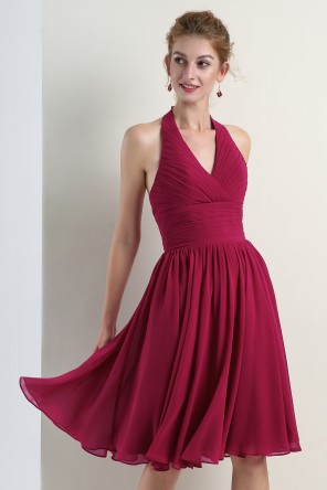 Simple petite robe fuchsia col halter empire pour cocktail mariage