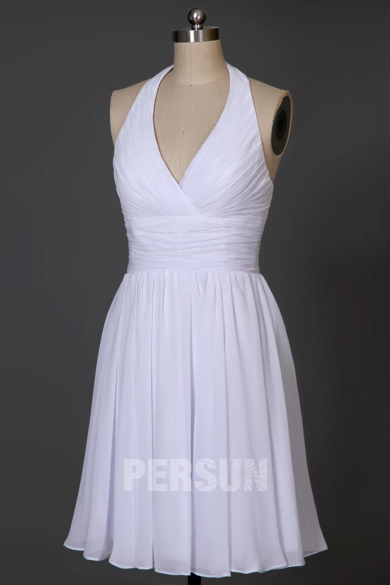 Simple petite robe cerise col halter empire pour cocktail mariage