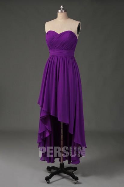 Robe violette courte devant longue derrière décolleté en coeur