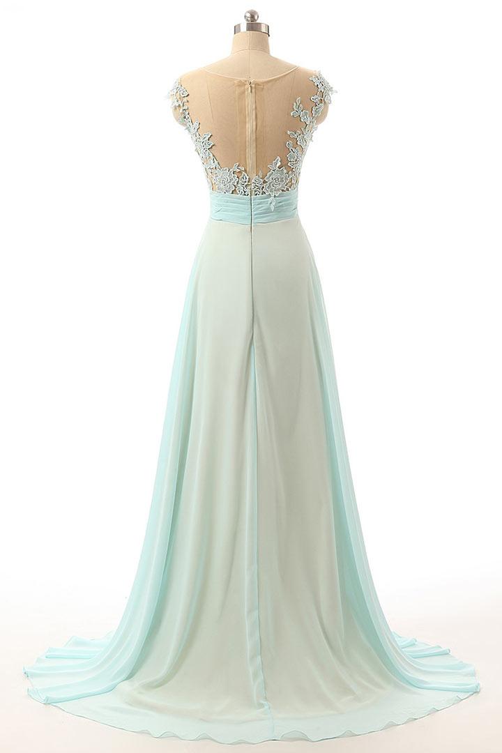 Robe de gala bleu pâle rétro ornée de dentelle longue dos transparent