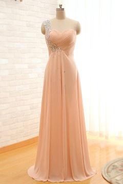 Chic robe nude encolure asymétrique en strass empire pour soirée