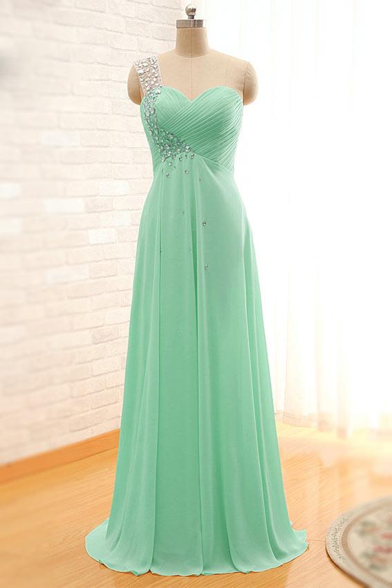 Robe magnifique verte pastel appliquée des paillettes