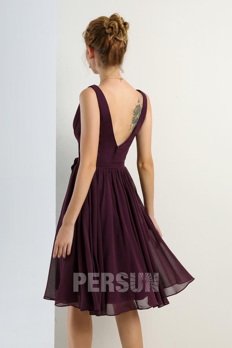 58462d74e7 Petite robe prune violette courte dos échancré en V pour cocktail mariage