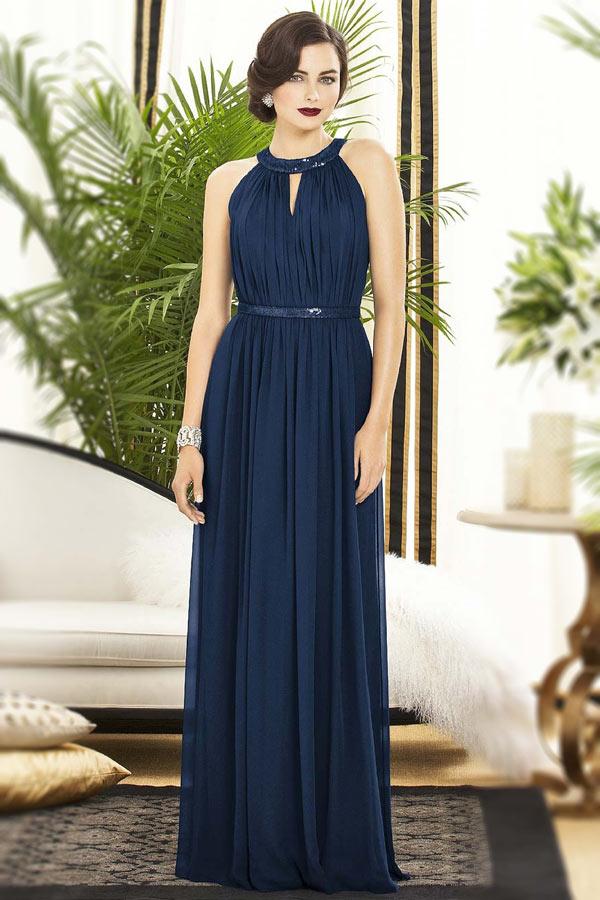 robe demoiselle d'honneur longue bleu marine col rond épaule dégagée