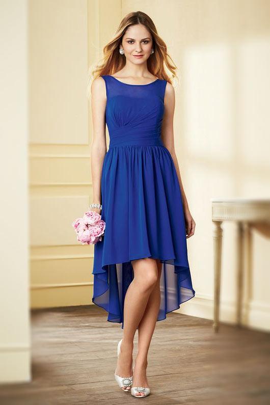 Robe simple bleu de roi courte devant longue derri re pour for Robe bleue pour mariage