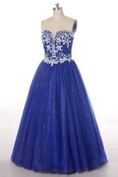 Robe de mariée bleu princesse jupe scintillante