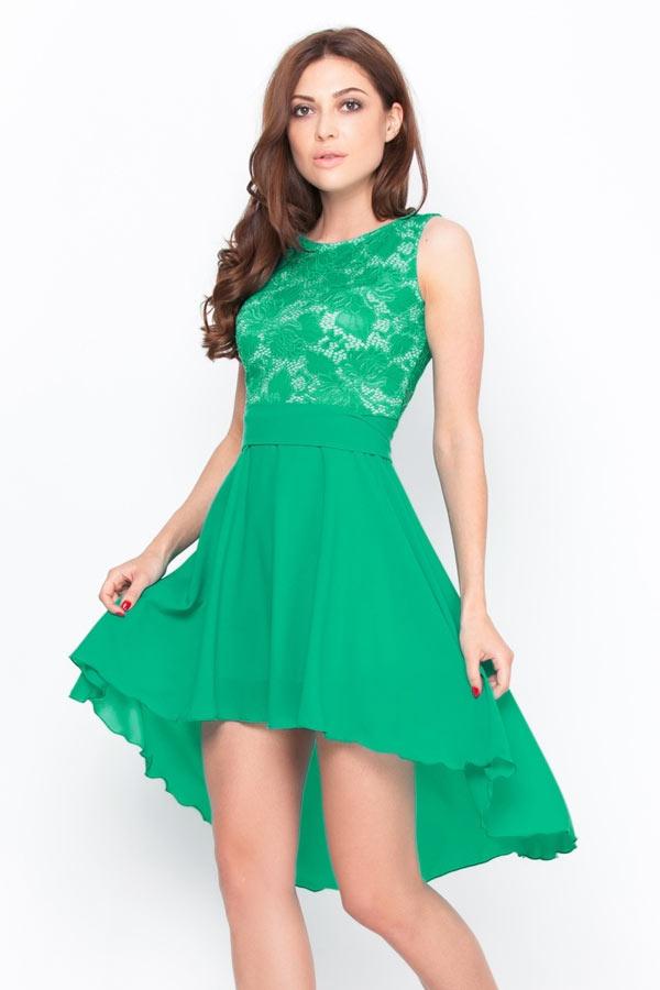 Robe chic verte haut en dentelle courte devant longue derrière