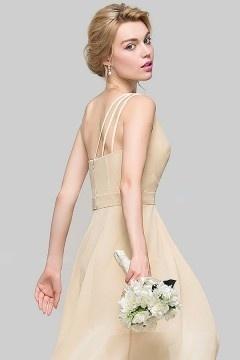 Robe de soirée asymétrique courte devant longue derrière pour mariage