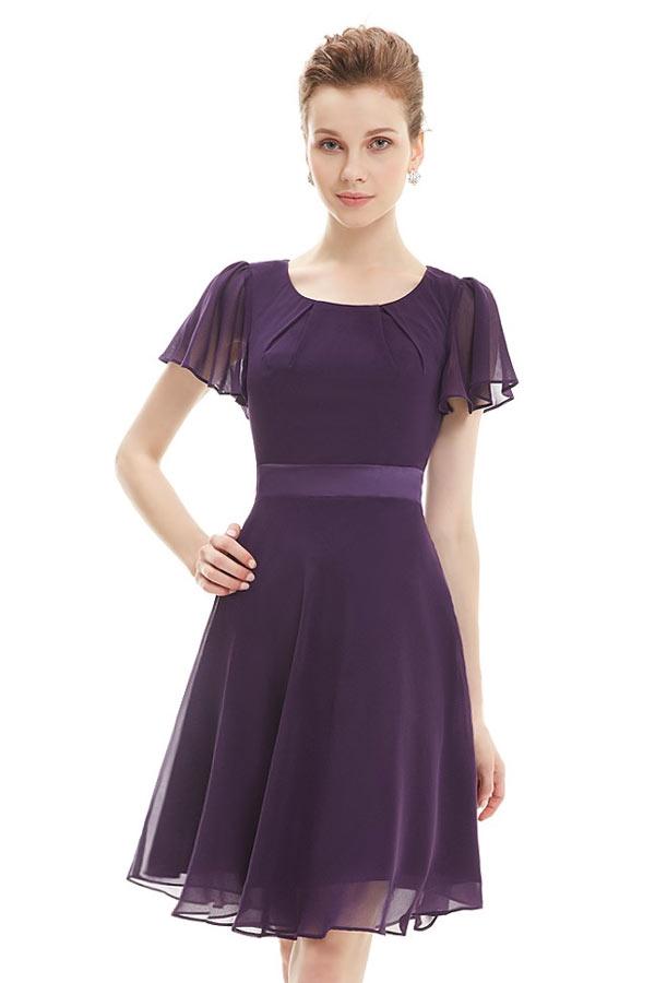 Petite robe prune courte & plissée à col rond