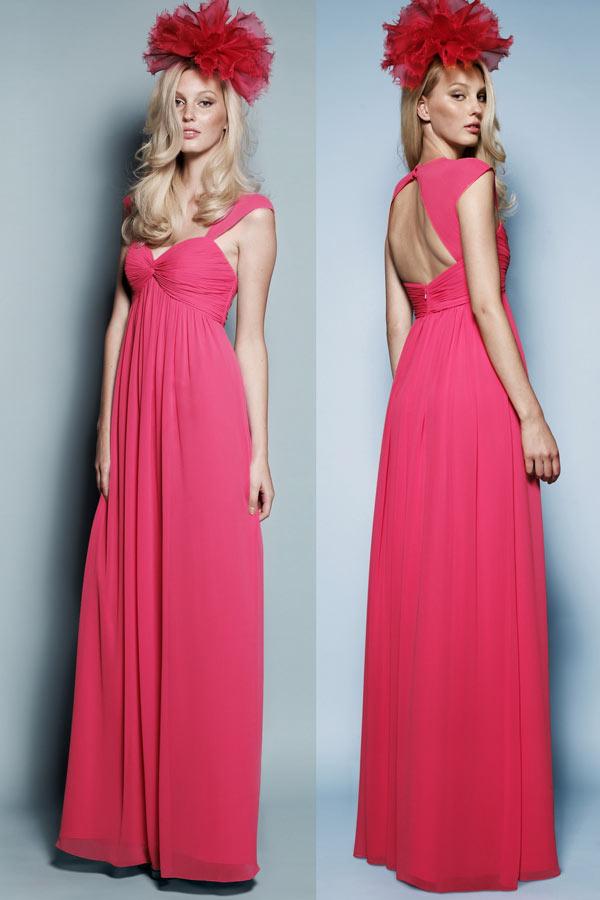Chic robe rose fuchsia longue aux bretelles fines & dos nu
