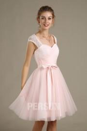 Kleines rosa ärmloses Kleid mit geschnitten Spitze