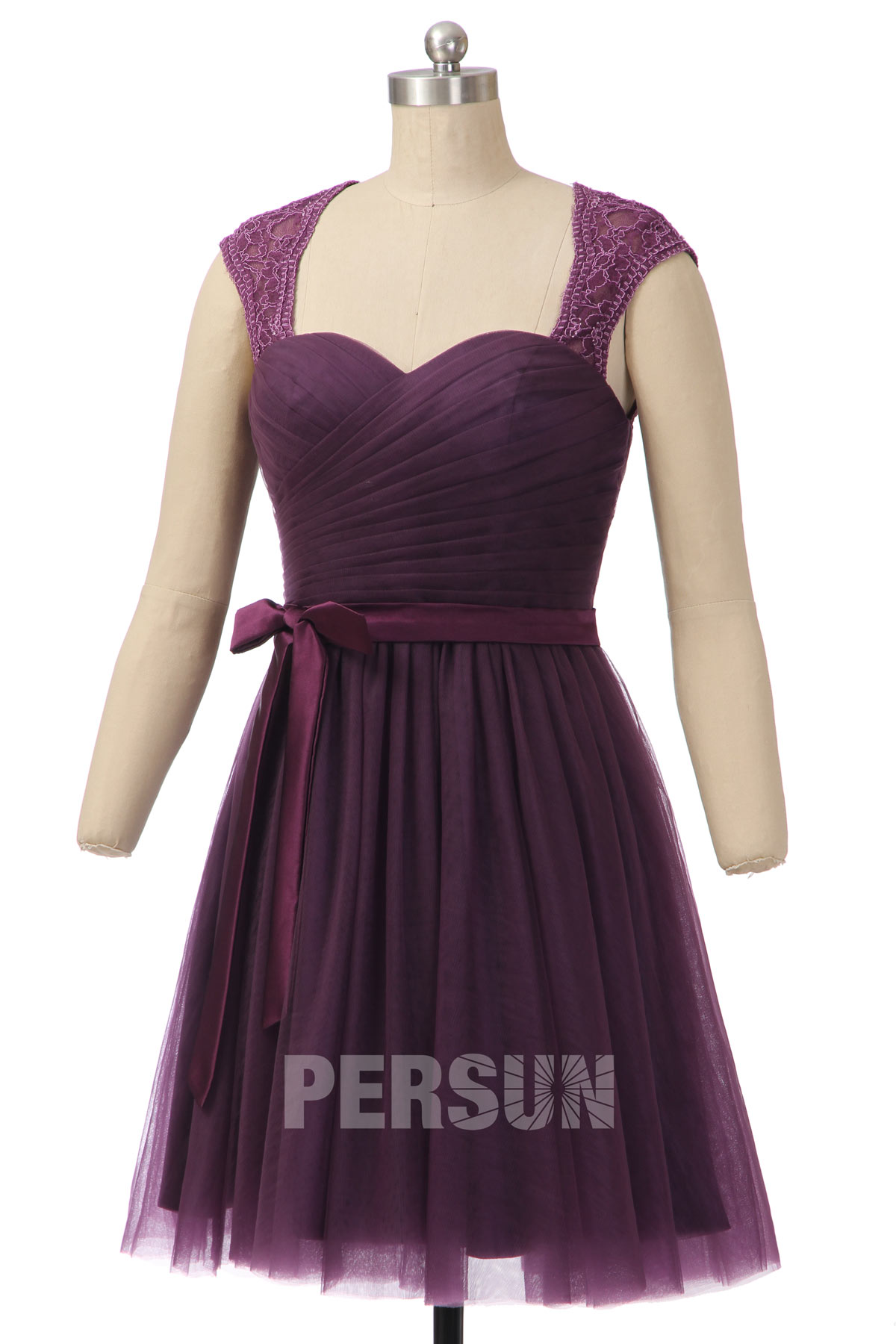robe de cocktail tulle prune