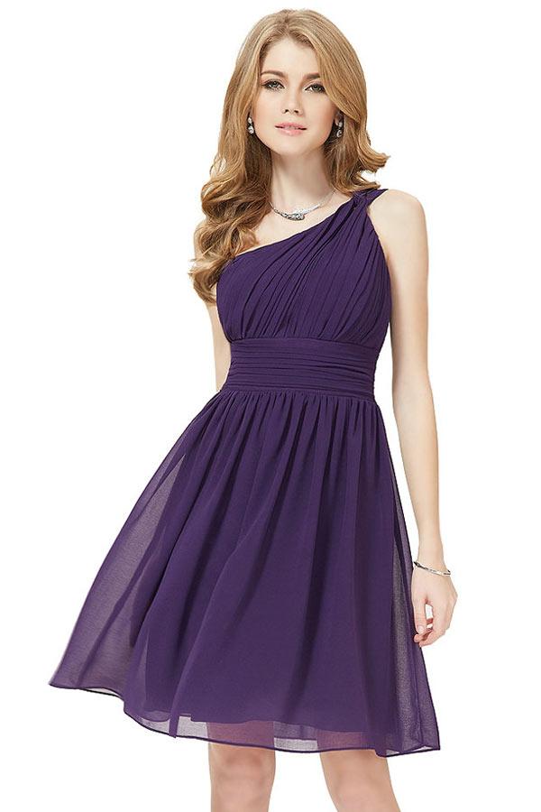 Petite robe classe asymétrique violettte pour cocktail mariage