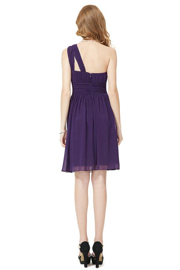 robe courte violette asymétrique habillée pour cocktail mariage