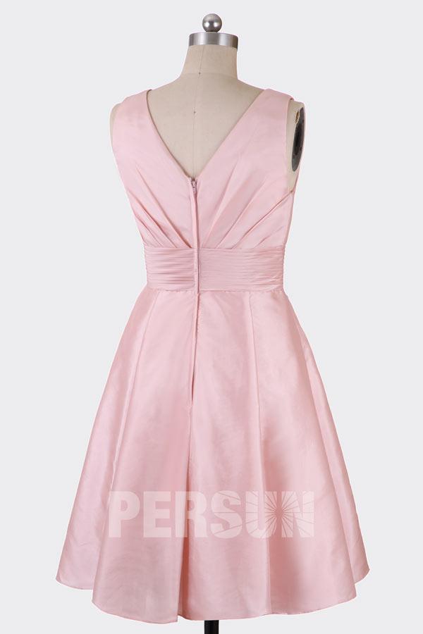 Courte robe soirée rose décolleté V ligne A empire pour témoin