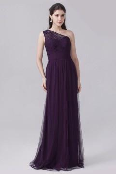 Robe tulle violette prune longue bustier asymétrique dentelle