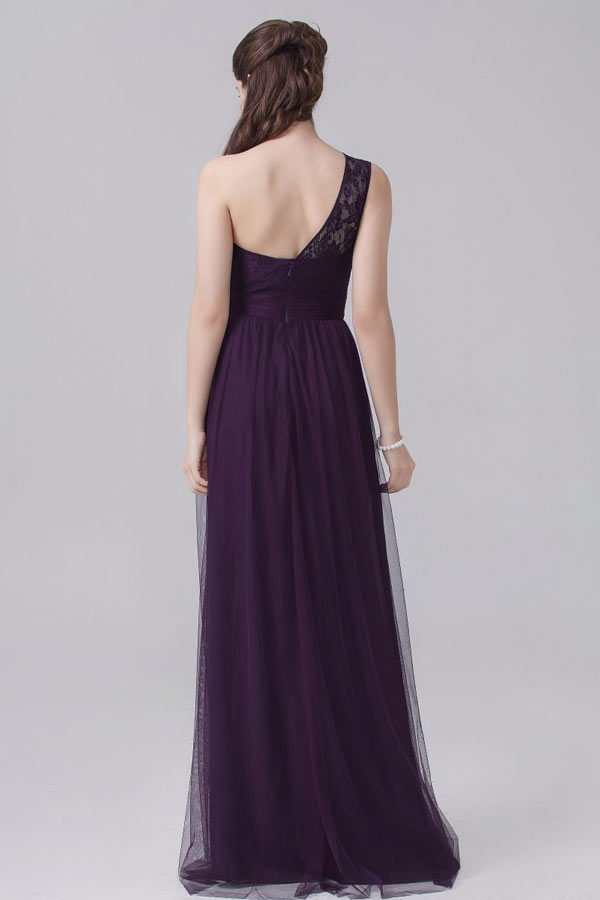 Robe de concert tulle féerique violette col asymétrique appliquée dentelle