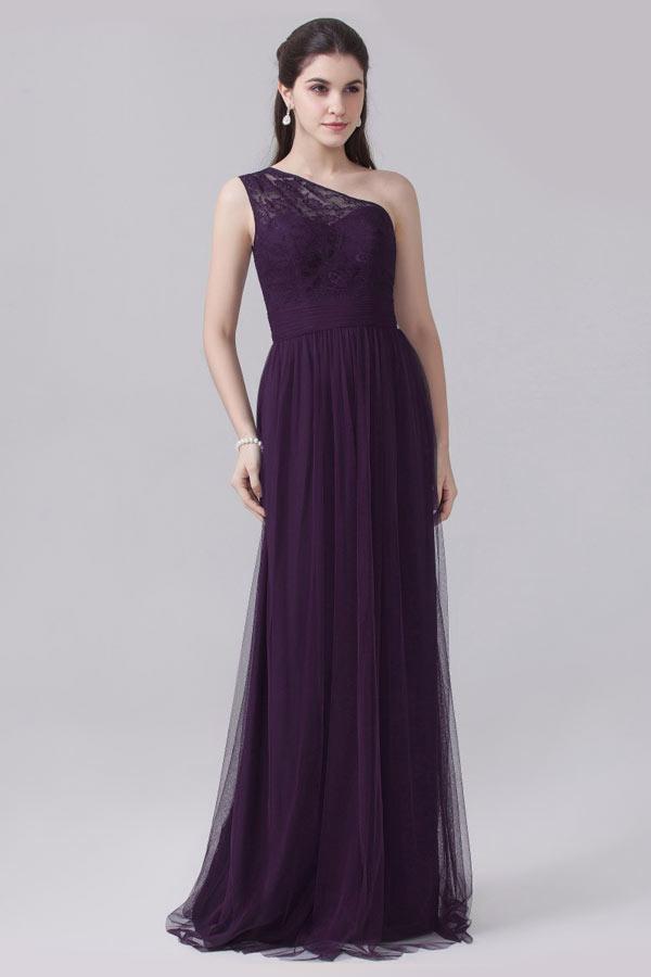 robe pour un mariage longue violette asymétrique haut en dentelle
