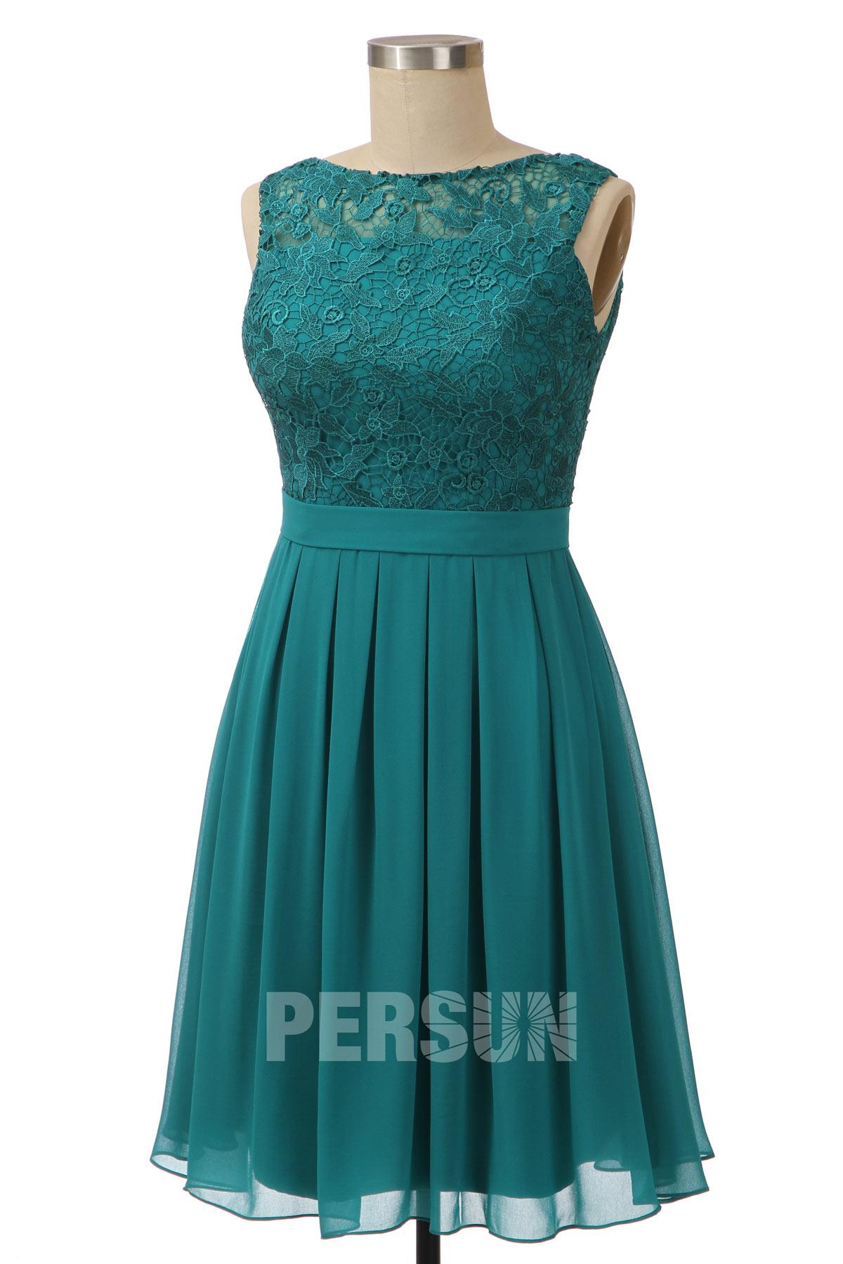 robe de réveillon courte verte à haut en dentelle