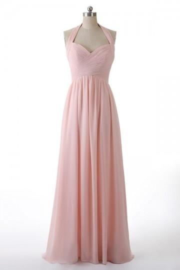 Robe rose pâle longue col halter pour mariage en mousseline