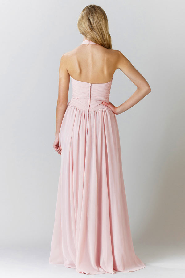 Robe rose de soirée moussseline à col halter