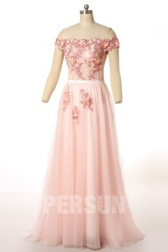 Robe rose de mariée 2018 fleurie & col bateau