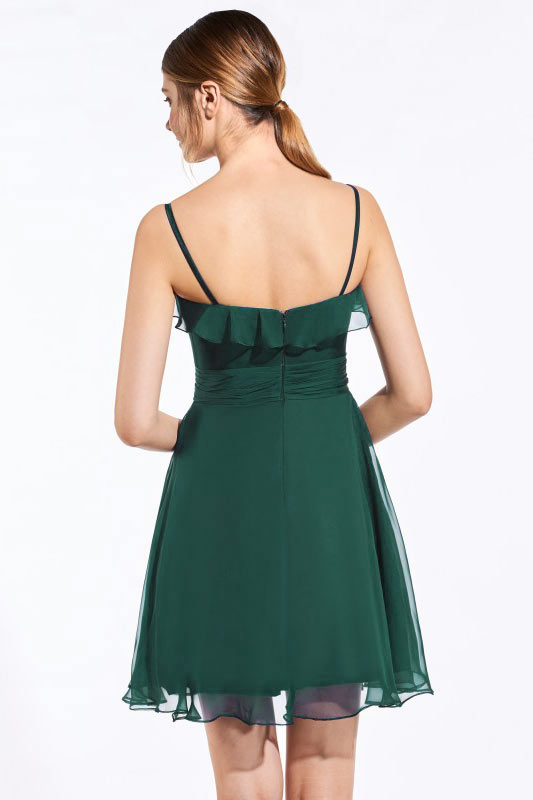 Robe courte vert sapin haut à volants avec bretelles fines pour cocktail mariage