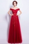 Robe de mariée 2018 rouge vermillon épaules dénudées