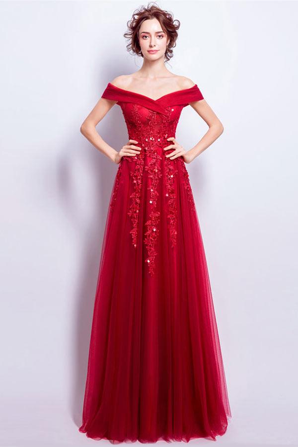 robe de bal longue rouge épaule dénudée en dentelle appliquée florale